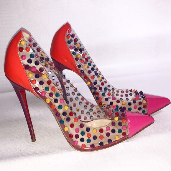 brand new a38d8 0bba1 Christian Louboutin Multi Color Spiked heel 42